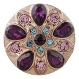 Conception 20MM plaqué or rose avec strass violet KC5642 snaps bijoux