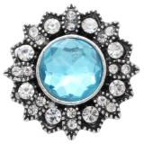 Diseño 20MM de plata chapada con diamantes de imitación azules KC6923 broches de joyería