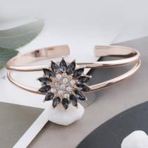 Bouton design 20MM plaqué or rose avec strass gris KC7576 s'encliquette bijoux