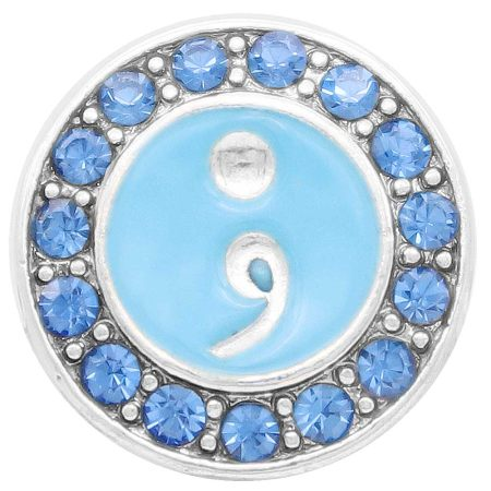 20MM semicolon snap Silver Plated with blue rhinestone KC7920 snaps jewelry