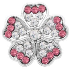 20MM flower snap Silver Plated with pink rhinestone KC7785 snaps jewelry