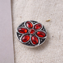 20MM Flower snap Silver Plated with red rhinestone KB7130 snaps jewelry