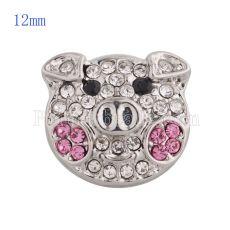 12MM Broche de cerdo de dibujos animados con diamantes de imitación blancos KS5136-S joyería de broches intercambiables