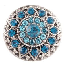 20MM round flower snap  Antique Silver Plated with  cyan rhinestone KC7083 snaps jewelry