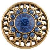 20MM broche redondo chapado en oro antiguo con diamantes de imitación azules KC8707 broches de joyería