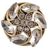 Diseño 20MM complemento chapado en oro antiguo con diamantes de imitación blancos KC8718 broches de joyería