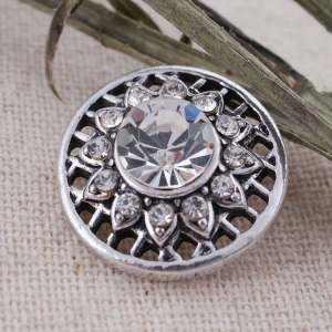 20MM round snap Antique Silver Plated with white Rhinestone  KC8683