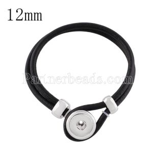 Black real leather new type bracelets fit Small snaps chunks