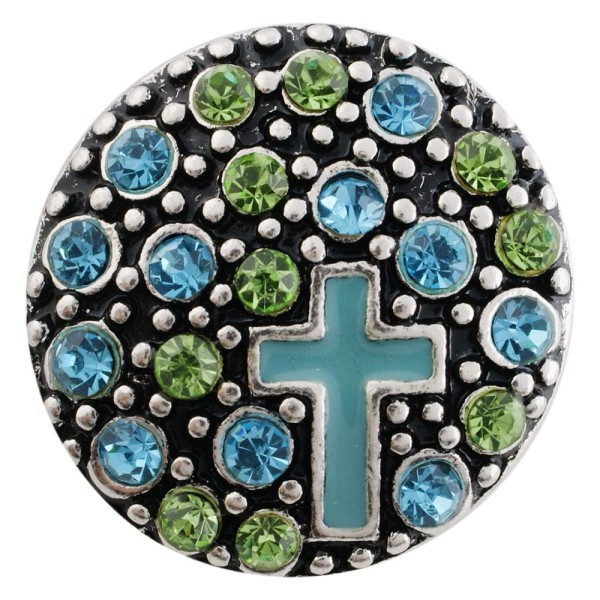 20MM cross snap silver antique plated with blue Rhinestone KC7494 interchangeable snaps jewelry