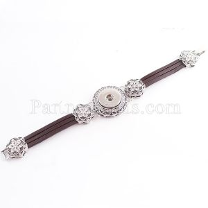 1 buttons snaps metal brown armband  fit snaps chunks KC0654