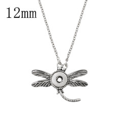 Pendant of rhinestone sliver Necklace with 45CM chain KS1219-S fit 12mm chunks snaps jewelry