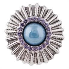 Bouton design 20MM plaqué argent avec strass bleu et perle KC5507 s'encliquette bijoux