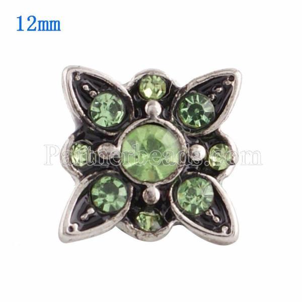 12MM snap Plateado con rhinestone verde KS9627-S broches de joyería