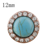 12MM round Rose Gold Plated with  rhinestone and  green Turquoise KS6281-S snaps jewelry