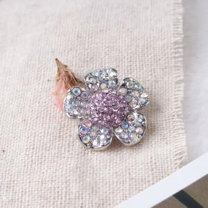 20MM Flower snap Plateado con diamantes de imitación KB7347 broches de joyería