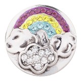 20MM Rainbow snap silver plated with multicolor Rhinestone KC5499 Multicolor