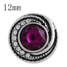 Astilla de diseño 12MM plateada con diamantes de imitación rosa y esmalte KS6271-S joyería de broches intercambiables