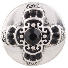 20MM Cross snap silver Plated with black Rhinestones KC7353 snaps jewelry