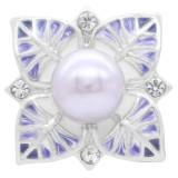 20MM lila Perlenverschluss versilbert mit Strass und lila Emaille KC7874 schnappt schmuck