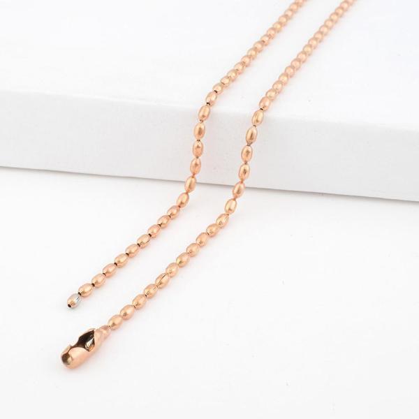 46CM Acero inoxidable Chapado en oro rosa Cadena de cuentas pequeñas para todas las joyas