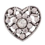 Broche hueco 20MM Chapado en plata antigua con diamantes de imitación blancos Joyas a presión KC9801