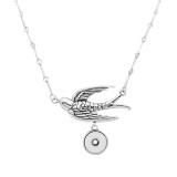 Collar de colgante de plata de golondrinas retro con cadena 48CM KC1074 fit 20MM trozos broches joyería