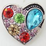 20MM Loveheart snap Plateado plata antigua con diamantes de imitación multicolor KB6246 broches de joyería