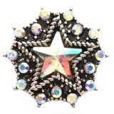 20MM Broches de estrella Diamantes de imitación chapados en plata antigua KB6825 broches de joyería