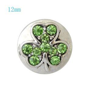 12MM Clover snap Plateado con diamantes de imitación verdes KB7232-S broches de joyería