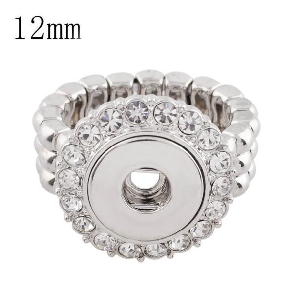 12MM s'enclenche avec bague ajustable avec strass KS1123-S s'enclenche bijoux