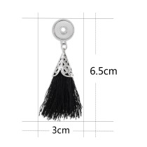 snap sliver tassel earrings with black line fit 12MM snaps jewelry KS1214-S