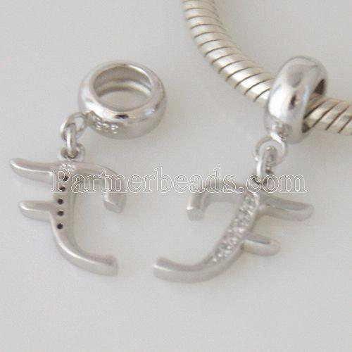 partner sterling silver dangle letter charm beads - F