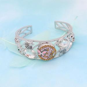 Broche de mariposa 20MM Plateado con diamantes de imitación amarillos y esmalte KC7923 broches de joyería
