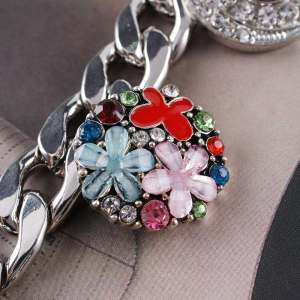 20MM Flower snap Silver Plated with  and Enamel KC6346 Multicolor