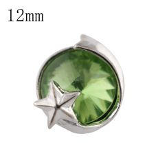 12mm Stern Kleine Druckknöpfe versilbert mit grünem Strass für Schmuckstücke