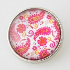 20MM snap glass pink Patrón decorativo KB2855-N joyería de broches intercambiables