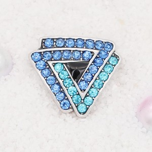 20MM Triangle snap Silver Plated with blue rhinestone KC7913 snaps jewelry