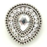 20mm drop snap Chapado en plata antigua con diamantes de imitación blancos KB8900 broches de joyería