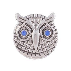 12MM Owl snap Plateado de plata antigua con diamantes de imitación KB5547-S broches de joyería