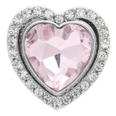 20MM bouton-pression en forme de cœur Plaqué argent avec strass rose KC9923 s'encliquette
