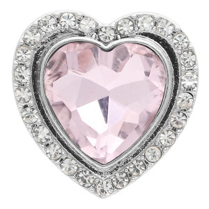 20MM heart-shaped design snap Silver Plated with pink rhinestone KC9923 snaps jewelry