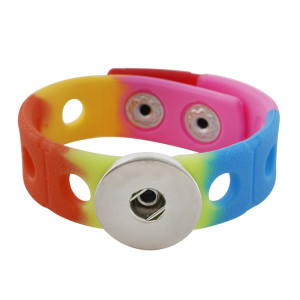 18cm Kid Junior Style Armband mit 15mm breitem buntem Silikon Stretch Fit 20mm Druckknopf