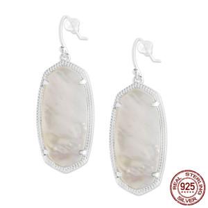 S925 Aretes colgantes de plata de ley de estilo Kendra Scott con concha blanca GM6001