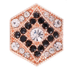 20MM Hexagon snap Antique plaqué or rose avec strass blanc KC7090 snaps bijoux