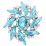 Diseño 20MM chapado en plata con diamantes de imitación azul claro KC7980 broches de joyería