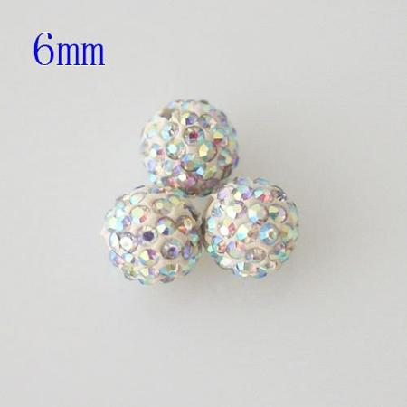 6*6mm colored white Rhinestone beads