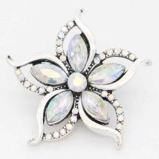 20MM design snap sliver Plated with colorful rhinestones KC6713 snaps jewelry