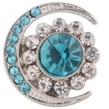 20MM broche de luna plateado con diamantes de imitación cian KC6356 broches de joyería