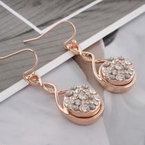 12MM plaqué or rose rond avec strass blanc KS8070-S s'encliquette bijoux