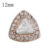 Diseño 12MM snap Plata antigua Oro rosa con diamantes de imitación blancos KS9671-S broches de joyería